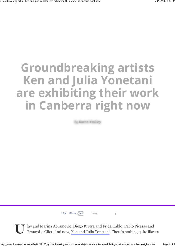 Groundbreaking artists Ken and Julia Yonetani are exhibiting the